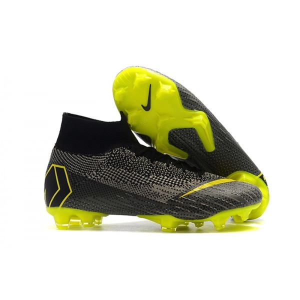 Men's Nike Mercurial Superfly VI Elite FG Football Cleats Grey Yellow
