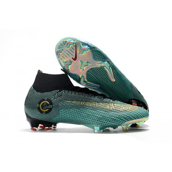 Men's Nike Soccer Shoes Mercurial Superfly 6 Club Ronaldo FG Clear Jade Vivid Black