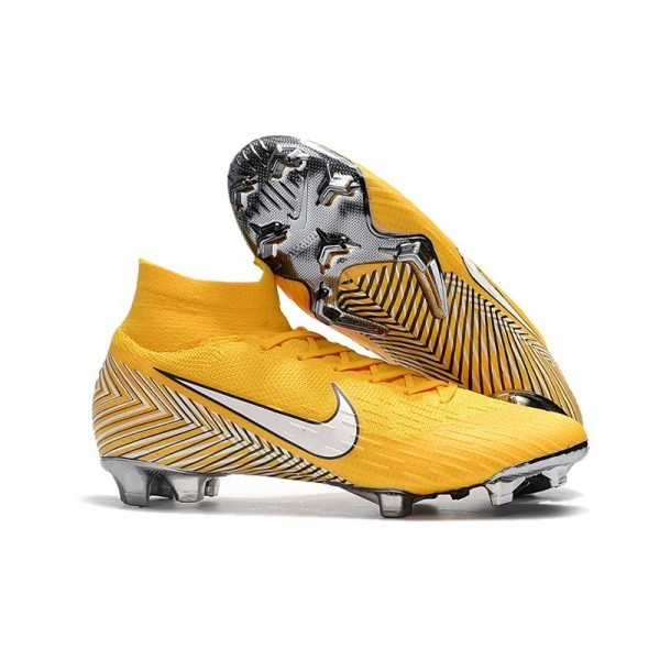 Men's Nike Soccer Shoes Mercurial Superfly 6 Elite FG Amarillo White Black
