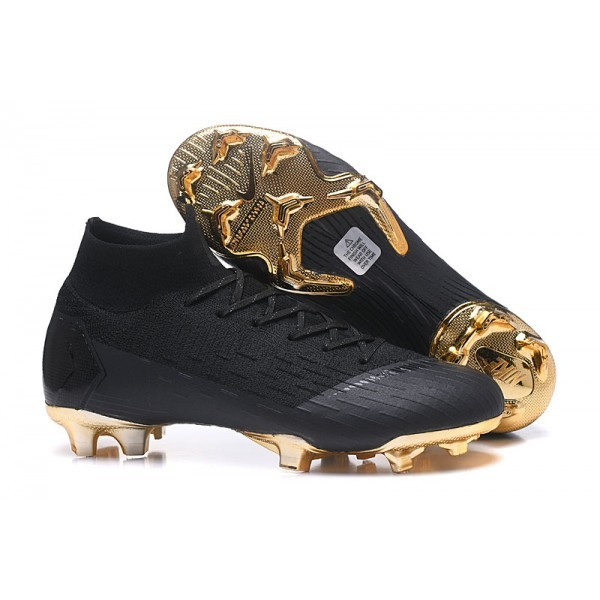 Men's Nike Soccer Shoes Mercurial Superfly 6 Elite FG Black Gold