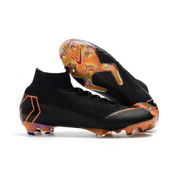Men's Nike Soccer Shoes Mercurial Superfly 6 Elite FG Black Total Orange White