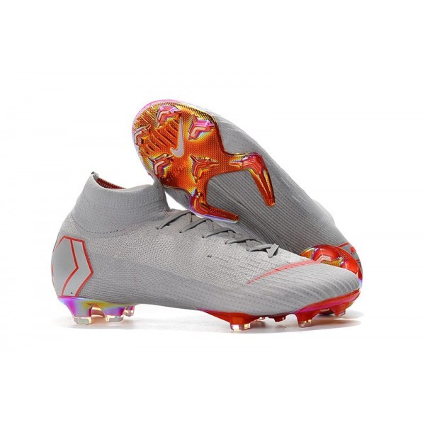 Men's Nike Soccer Shoes Mercurial Superfly 6 Elite FG Gray Red