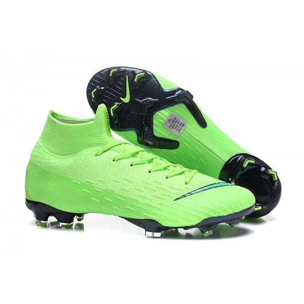 Men's Nike Soccer Shoes Mercurial Superfly 6 Elite FG Green Black