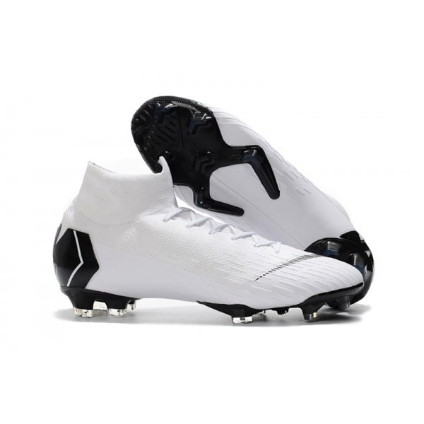 Men's Nike Soccer Shoes Mercurial Superfly 6 Elite FG White Black