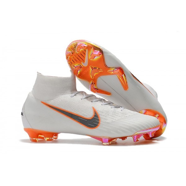Men's Nike Soccer Shoes Mercurial Superfly 6 Elite FG White Metallic Grey Orange