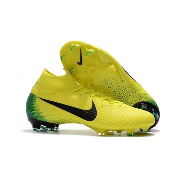 Men's Nike Soccer Shoes Mercurial Superfly 6 Elite FG Yellow Black