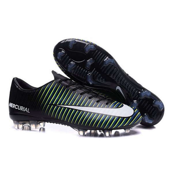 2016 Men's Nike Mercurial Vapor XI FG Black White Blue Volt