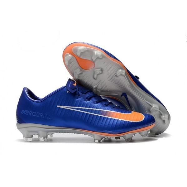 Men's Nike Football Cleats Mercurial Vapor XI FG Blue Orange Silver