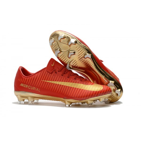 Men's Nike Football Cleats Mercurial Vapor XI FG CR7 Gold Red