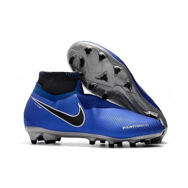 Men's Nike Soccer Cleats Phantom Vision Elite DF FG Racer Blue Silver Black Volt