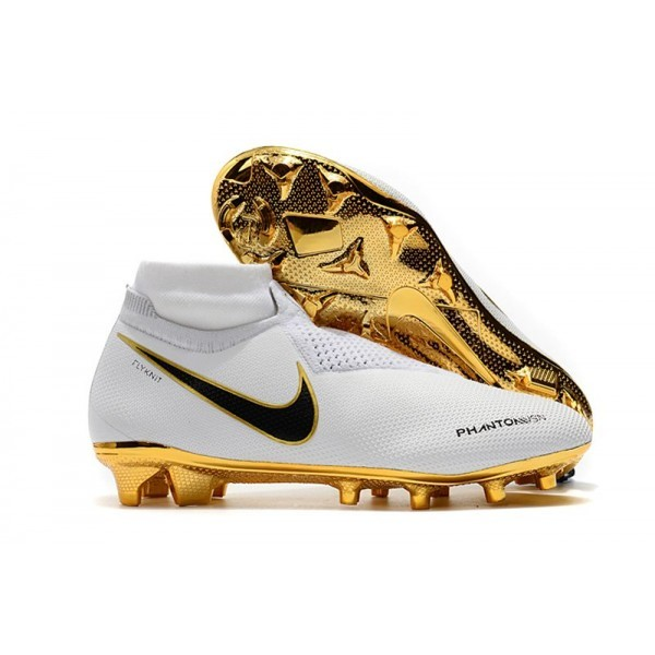 Men's Nike Soccer Cleats Phantom Vision Elite DF FG White Gold