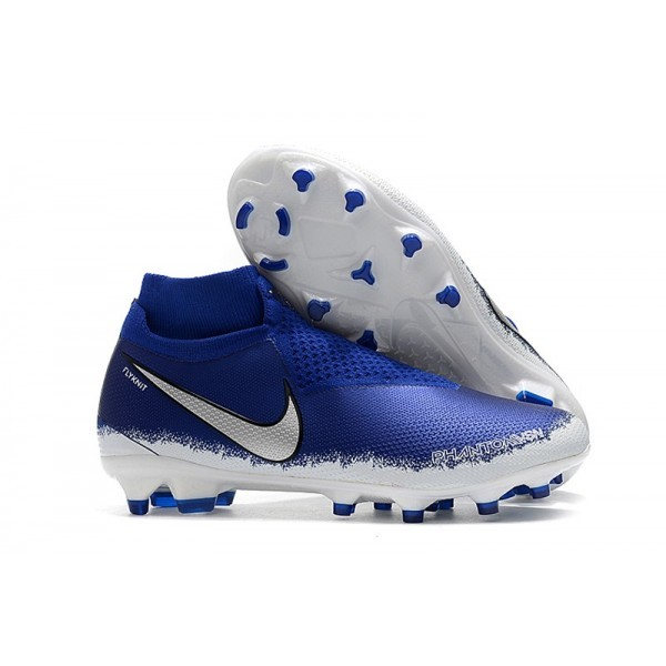 Men's Nike Phantom Vision Elite DF FG Football Cleats Blue Silver