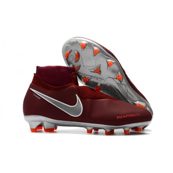 Men's Nike Phantom Vision Elite DF FG Football Cleats Team Red Metallic Dark Grey