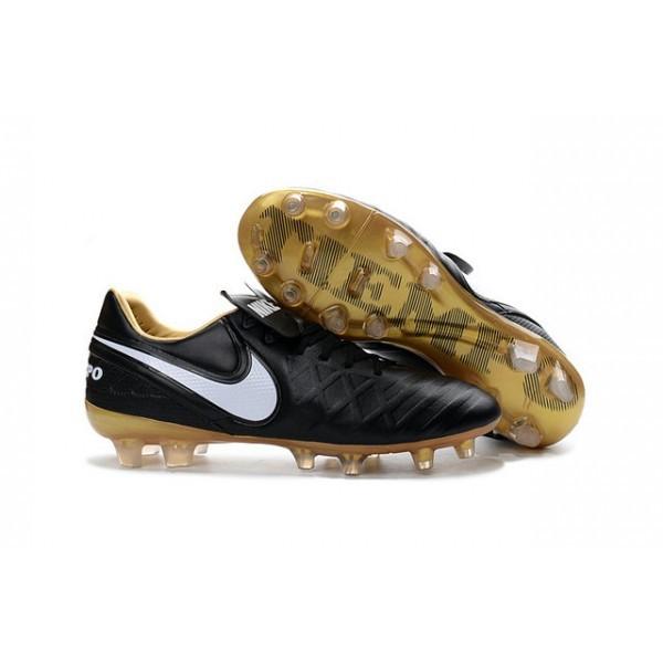Men's Nike Tiempo Legend VI FG Soccer Cleats Black White Gold Boots