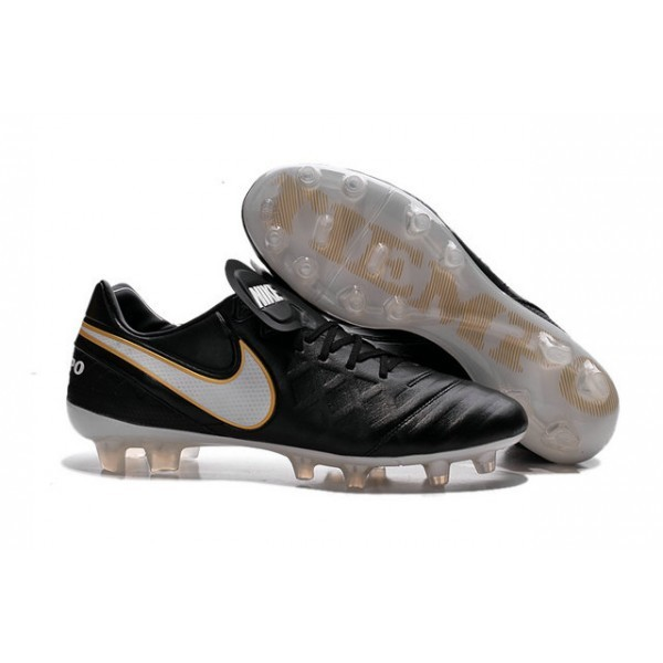 Men's Nike Tiempo Legend VI FG Soccer Cleats Boots In Black White Gold