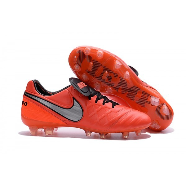 Men's Nike Tiempo Legend VI FG Soccer Cleats Orange Black Grey