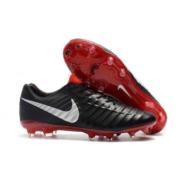 Men's Nike Football Cleats Tiempo Legend VII FG Black Red Silver