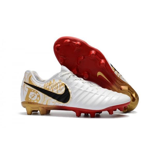 Men's Nike Football Cleats Tiempo Legend VII FG White Gold Black