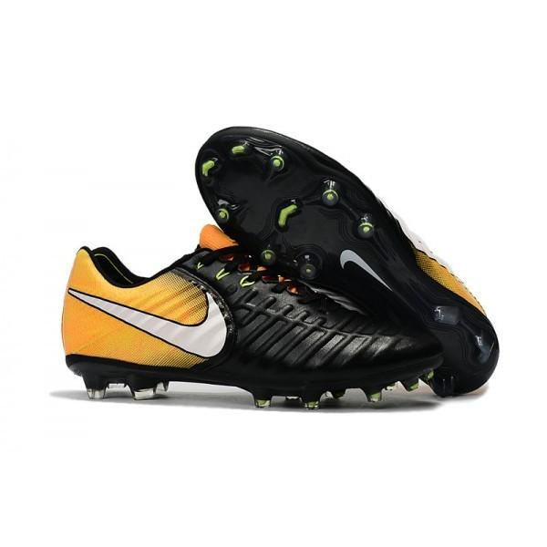 Men's Nike Soccer Shoes Tiempo Legend 7 FG Black White Yellow
