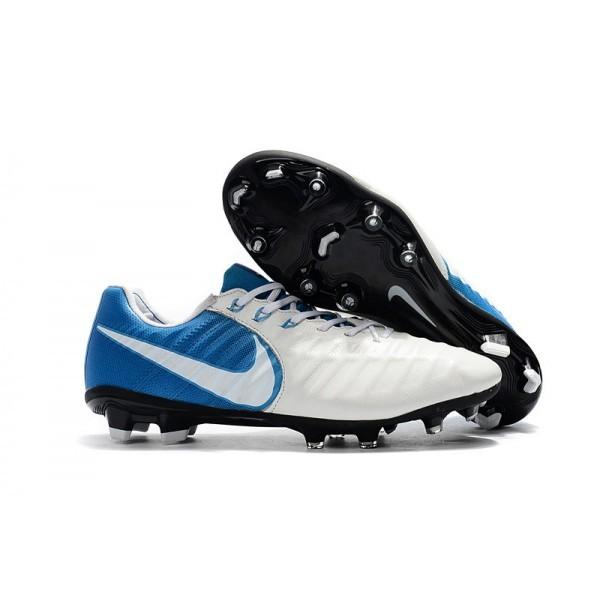 Men's Nike Soccer Shoes Tiempo Legend 7 FG In White Blue